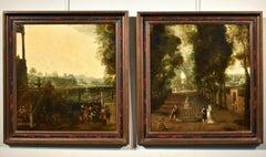De Moucheron Pair Of Gardens Paint Old master Oil on canvas 17/18th Century Art