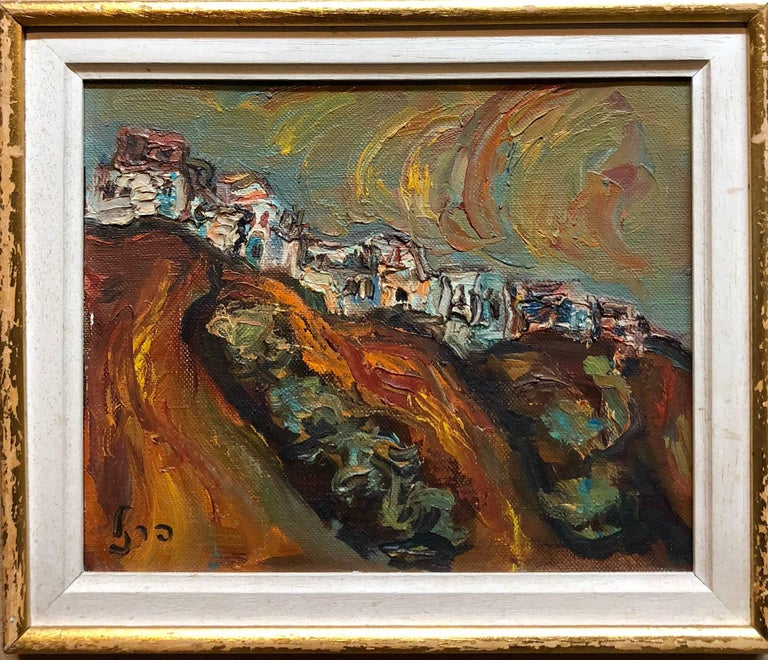Israeli Landscape Old Jerusalem or Safed Impasto Oil Painting - Brown Landscape Painting by Isaac Frenel