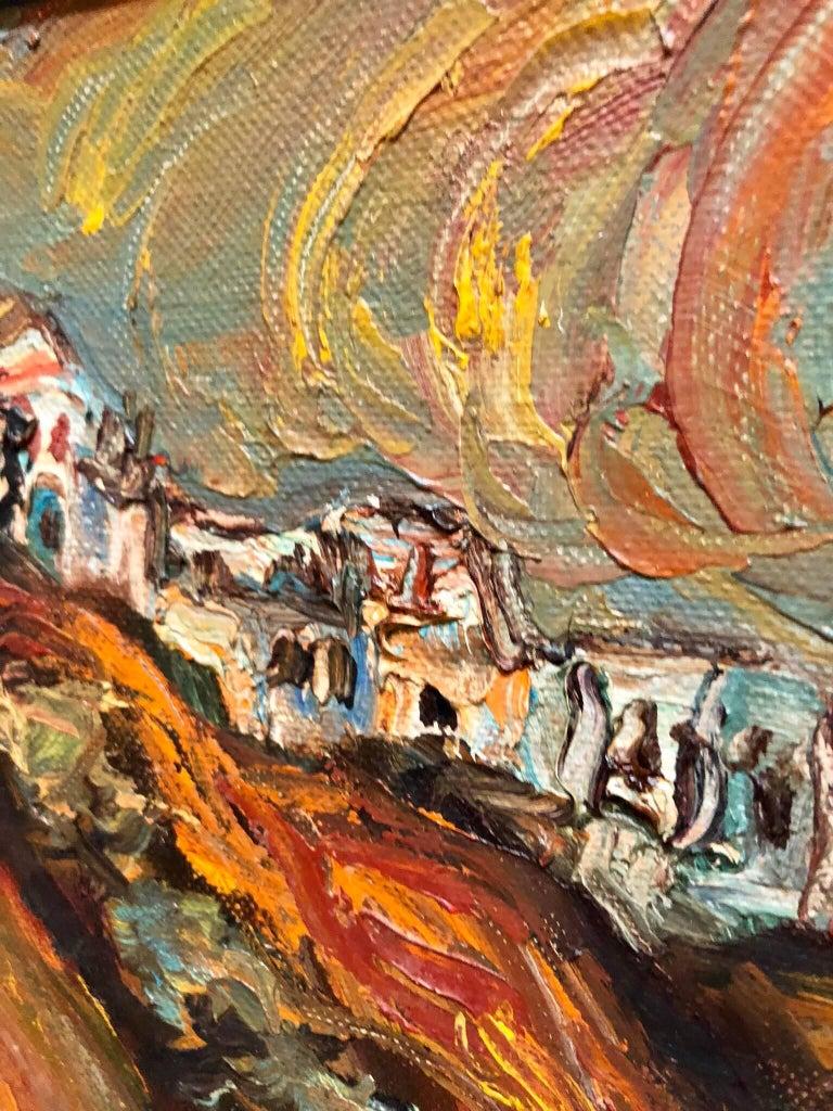 Israeli Landscape Old Jerusalem or Safed Impasto Oil Painting For Sale 1