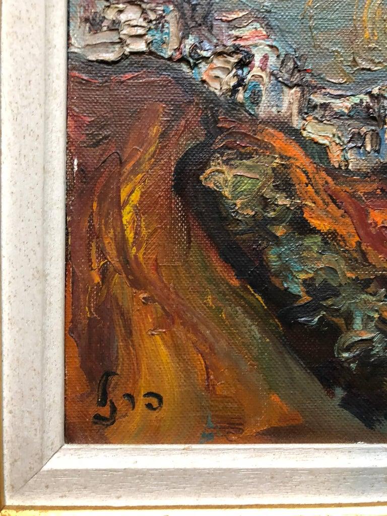 Israeli Landscape Old Jerusalem or Safed Impasto Oil Painting For Sale 2