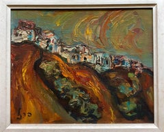 Israeli Landscape Old Jerusalem or Safed Impasto Oil Painting