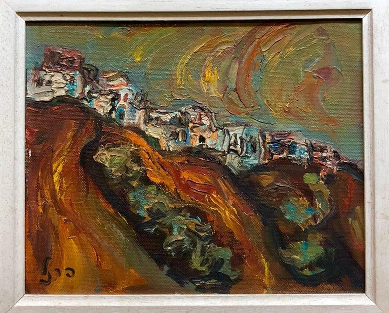 Isaac Frenel Landscape Painting - Israeli Landscape Old Jerusalem or Safed Impasto Oil Painting