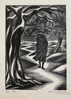 c.1930's WPA Jewish Artist Isaac Friedlander Woodcut Woodblock Art Deco Print