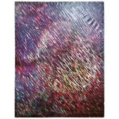 Isaac Holkar Large Scale Pointillist Style Abstract Painting