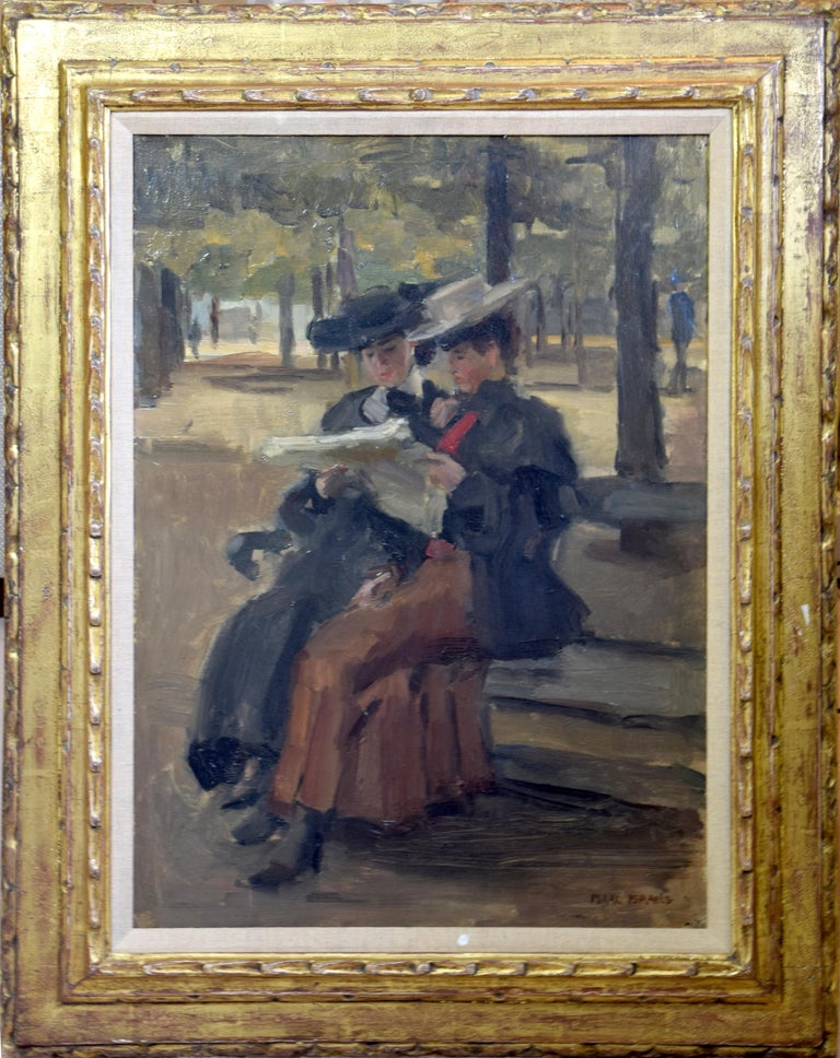 Bois de Boulogne by Isaac Israëls - Impressionist painting of two women reading For Sale 1