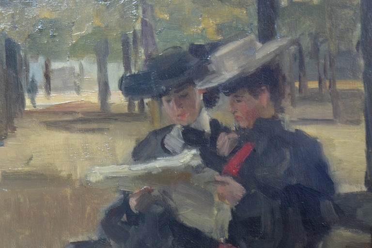 Bois de Boulogne by Isaac Israëls - Impressionist painting of two women reading For Sale 2