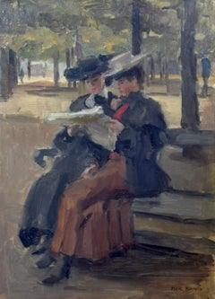 Bois de Boulogne by Isaac Israëls - Impressionist painting of two women reading