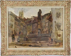 Fontaine St. Anne, Fribourg (Switzerland) by ISAAC ISRAELS - Dutch Impressionist