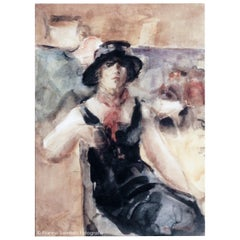 "Isaac Israëls - ""Young Lady in Dancehall"", circa 1923, Aquarel on Paper, Signed"