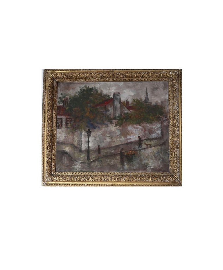 Wonderful post-impressionist oil painting of a Paris street scene by a good artist, Isaac Lichtenstein. Possibly Montmartre district.  Oil on canvas. No title.  Signed and dated 1924 on verso.  Also an interesting inventory mark on stretcher