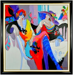 Isaac Maimon Large Original Oil Painting On Canvas Signed Lady Portrait Cafe Art