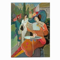 Vibrant Israeli Oil Painting Colorful Cafe Scene Ladies who Lunch Isaac Maimon