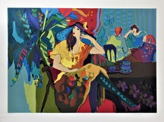 Cafe Scene, large original color serigraph