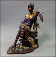 Isaac Maimon Full Round Bronze Sculpture Monique Female Portrait Signed Painting