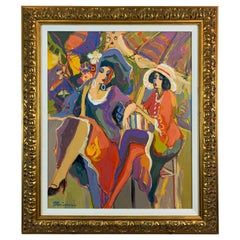 Isaac Maimon Painting of Two Fashionable Women at Cafe