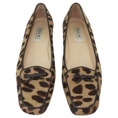Isaac Mizrahi Animal Leopard Print Fur Loafer Shoes Sz 7 1/2 M