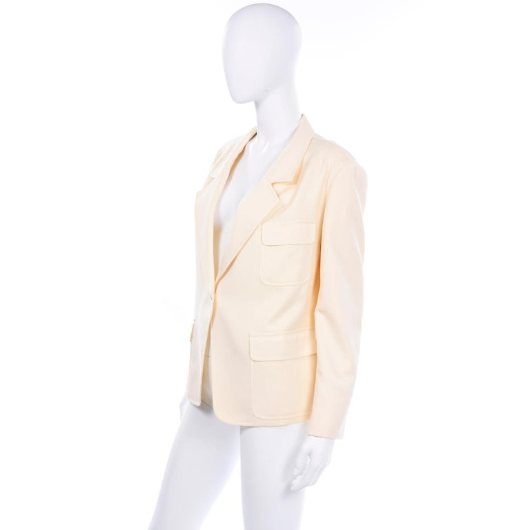 Beige Isaac Mizrahi Vintage Cream Wool Boxy Blazer Jacket Size Large For Sale