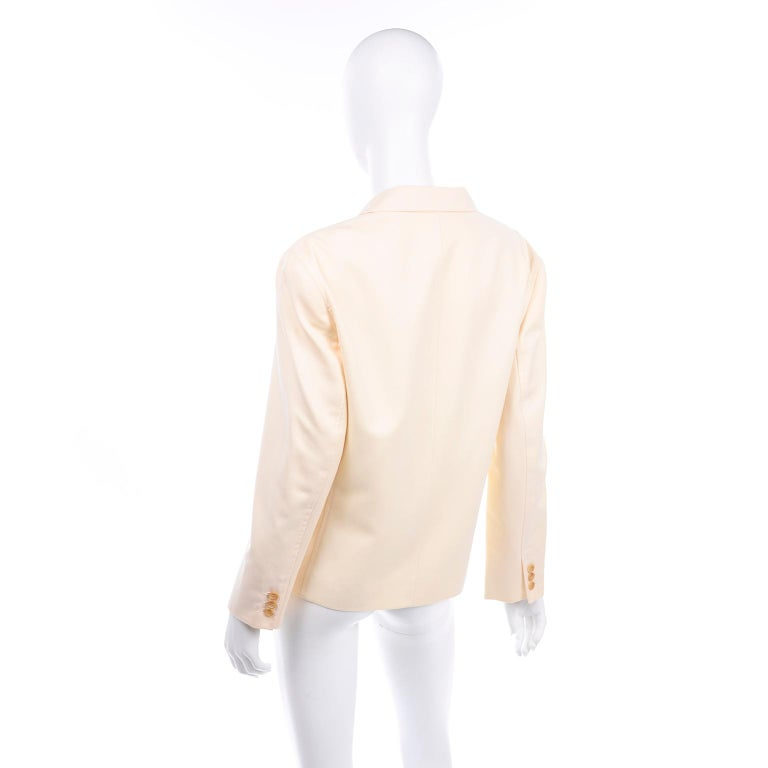 Isaac Mizrahi Vintage Cream Wool Boxy Blazer Jacket Size Large In Excellent Condition For Sale In Portland, OR