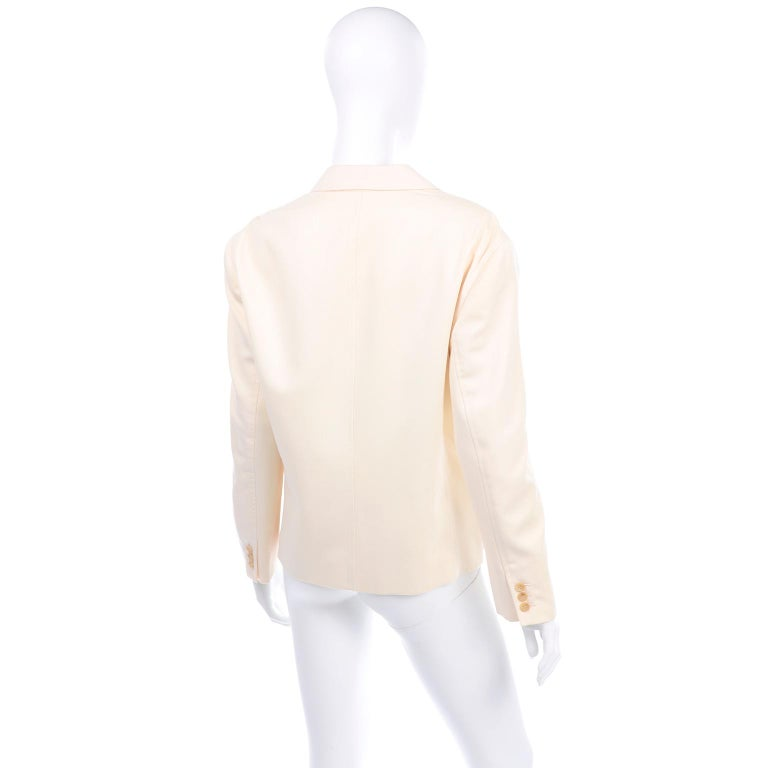 Women's or Men's Isaac Mizrahi Vintage Cream Wool Boxy Blazer Jacket Size Large For Sale