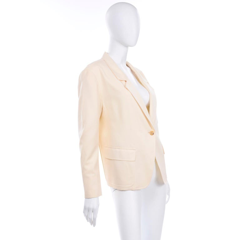 Isaac Mizrahi Vintage Cream Wool Boxy Blazer Jacket Size Large For Sale 1