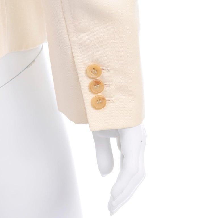 Isaac Mizrahi Vintage Cream Wool Boxy Blazer Jacket Size Large For Sale 2