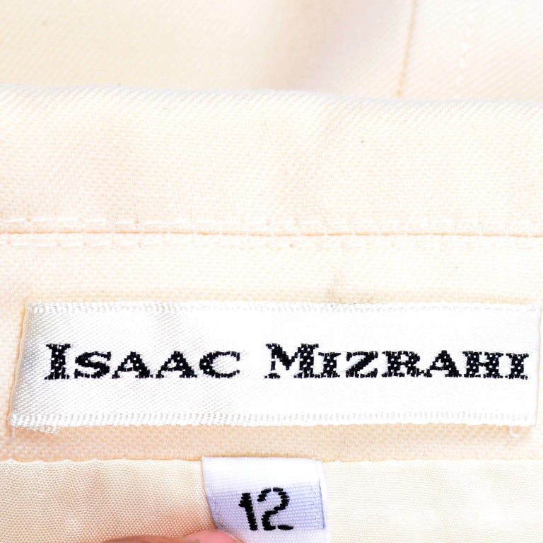 Isaac Mizrahi Vintage Cream Wool Boxy Blazer Jacket Size Large For Sale 3