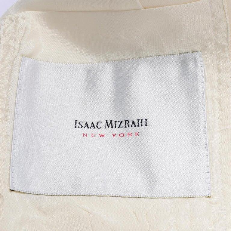 Isaac Mizrahi Vintage Cream Wool Boxy Blazer Jacket Size Large For Sale 4