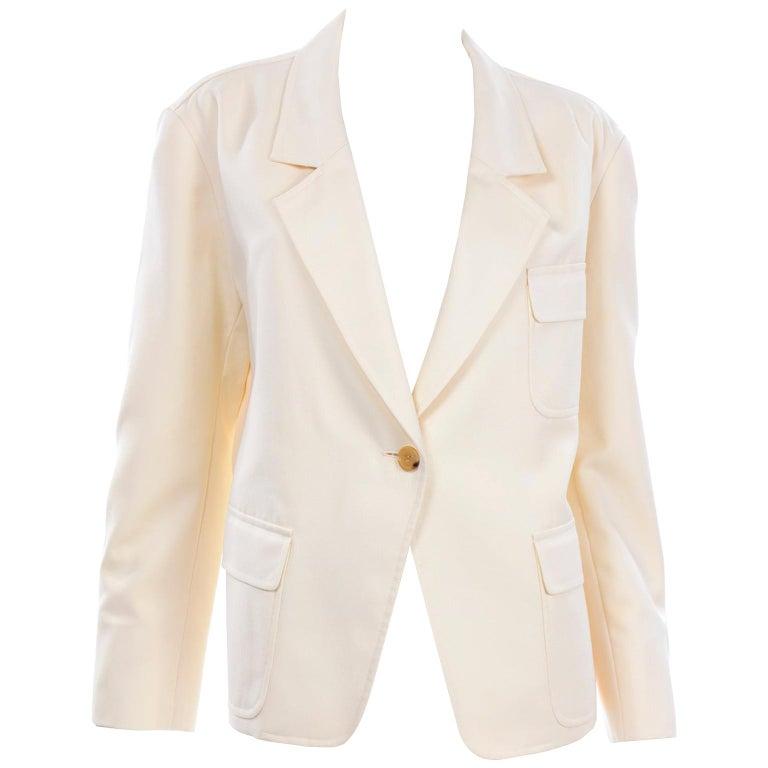 Isaac Mizrahi Vintage Cream Wool Boxy Blazer Jacket Size Large For Sale