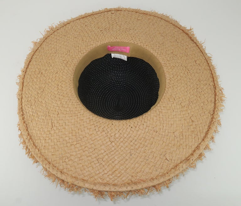 Isaac Mizrahi Wide Brimmed Straw Beach Hat For Sale 6