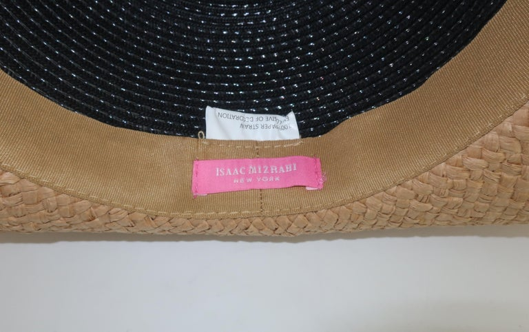 Isaac Mizrahi Wide Brimmed Straw Beach Hat For Sale 7