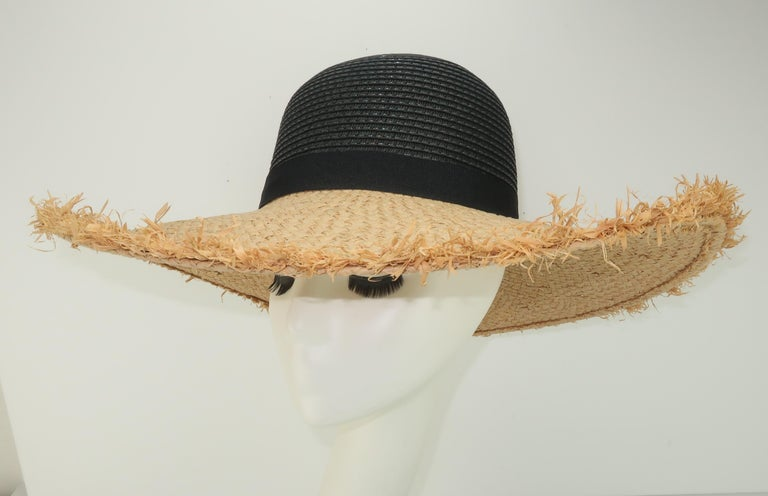 Isaac Mizrahi Wide Brimmed Straw Beach Hat For Sale 1