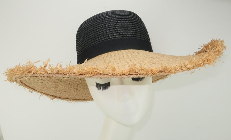 Isaac Mizrahi Wide Brimmed Straw Beach Hat For Sale 2