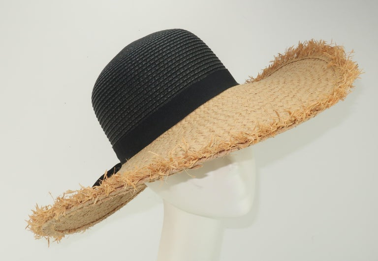 Isaac Mizrahi Wide Brimmed Straw Beach Hat For Sale 3