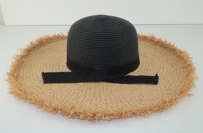 Isaac Mizrahi Wide Brimmed Straw Beach Hat For Sale 4
