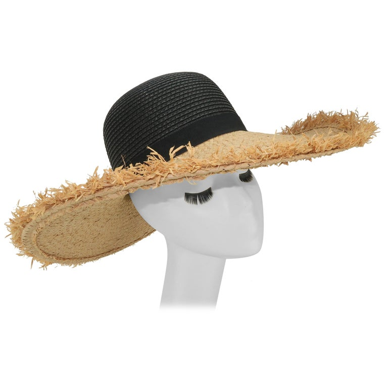 Isaac Mizrahi Wide Brimmed Straw Beach Hat For Sale