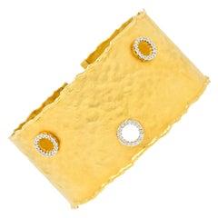 Isaac Reiss Round Brilliant Diamond 14 Karat Yellow Gold Hammered Cuff Bracelet