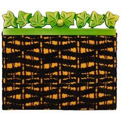Isabel Canovas Black & Gold Silk Leather Green Bakelite Leaf Clutch, 1980s