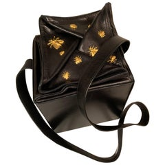 Isabel Canovas Black Leather Beehive Box Bag with Applied Bees