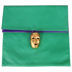 Isabel Canovas Bright Green and Purple Leather Bag with Gold Mask Closure