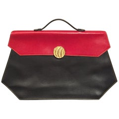 Isabel Canovas Geometric Red and Black Leather Handbag, Laptop Case or Briefcase