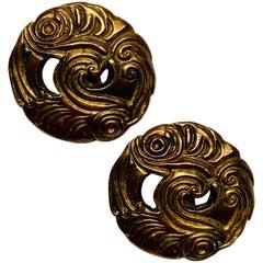 Isabel Canovas Gilt Bronze Swirling Wave Design Clip Earrings