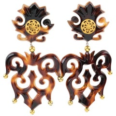 Isabel Canovas Paris Oversized Tortoise Resin Clip on Earrings Baroque Carving