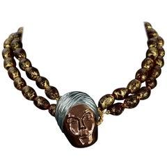ISABEL CANOVAS Turban Head Multi Strand Gold Foil Murano Glass Bead Necklace