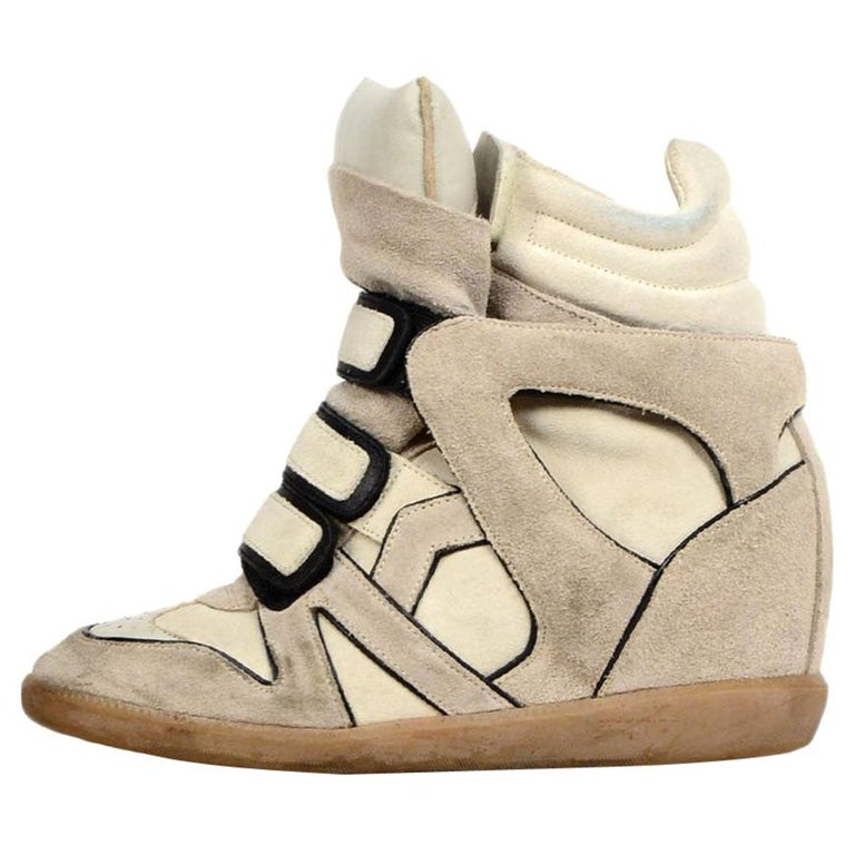 9a28f5f6f727 Isabel Marant Beige/Black Suede & Leather Bekett Wedge Sneakers sz 37 For  Sale