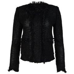 Isabel Marant Black Fringe Tweed Jacket Sz 36