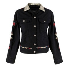 Isabel Marant Black Jeans Jacket with Sequin Collar 0 US