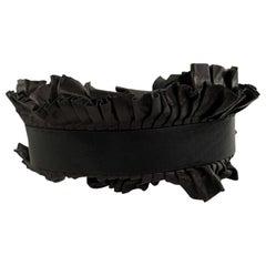 Isabel Marant Black Leather Ruffled Wide Waist Belt Size S