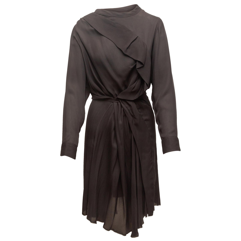 Isabel Marant Black Long Sleeve Silk Dress