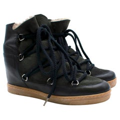 Isabel Marant Black Nowles Fur-Lined Wedge Snow Boots Size 41