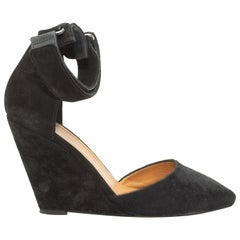 Isabel Marant Black Ponyhair & Suede Wedge Heels